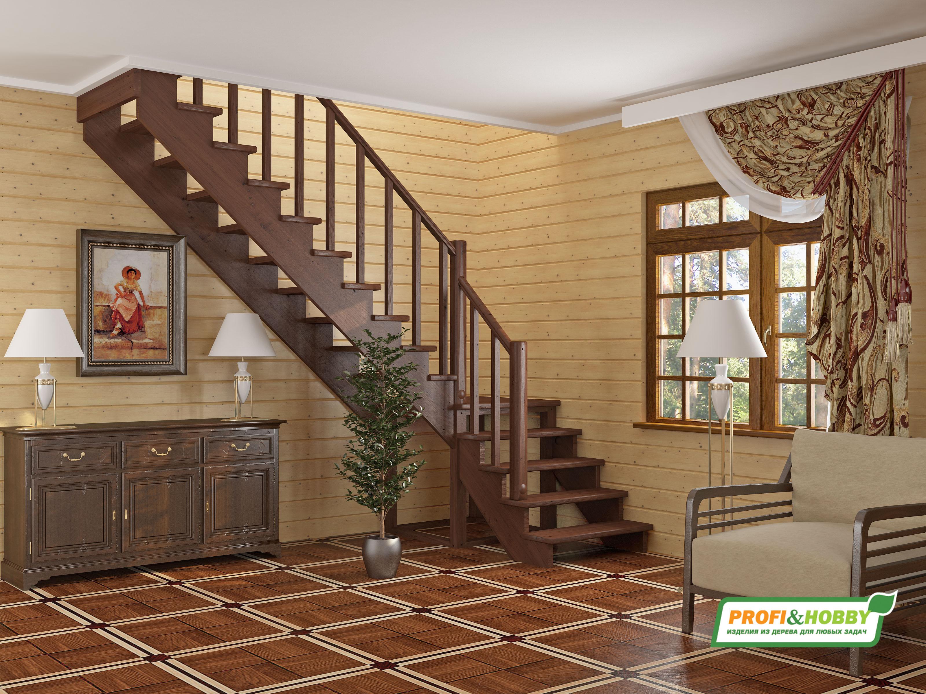 Г образная лестница деревянная